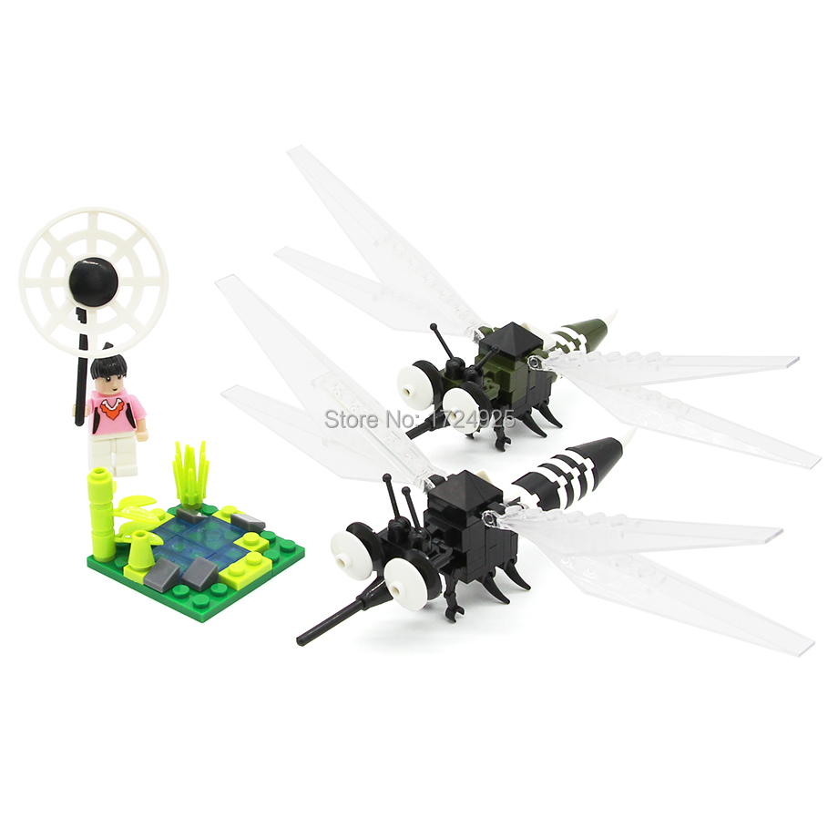 US $23 98 |5in1 Insect II Variation Flies Transfomable Butterfly Mosquito  Mantis Bee Firef Building Block Sets Model Educational Toys-in Blocks from
