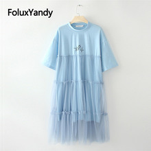 Mesh Pleated Dress New Vestidos Women Casual Summer Short Sleeve Midi Black Blue White KKFY3583