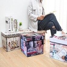 Banqueta plegable de almacenamiento no tejido multifunción con estampado Retro británico, caja para sentarse, zapatos, organización, decoración del hogar con estampado Vintage