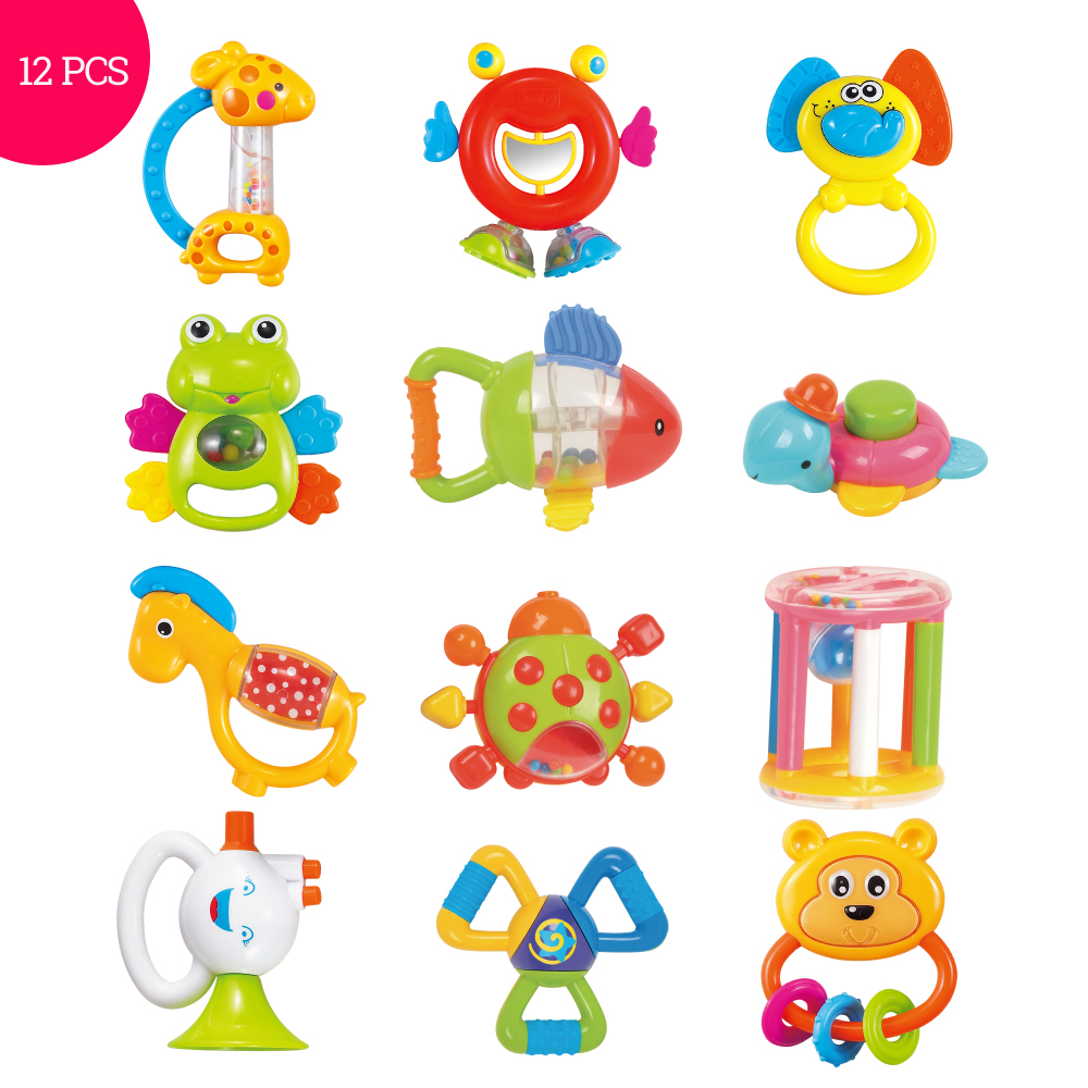Baby Toys Plastic Hand Jingle Shaking Bell Lovely Hand Shake Bell Ring 12PCS Baby Rattles Toys Newborn 0-12 Months Teether Toys baby rattles toys 8pcs teether music hand shake bed bell newborns plastic animal rattles gift educational baby toys 0 12 months