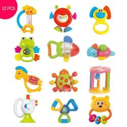 Brinquedos do bebê de Plástico Mão 12PCS Jingle Agitando Sino Linda Mão Agite Sino do Anel Chocalhos Brinquedos Do Bebê Recém-nascidos 0- 12 meses Mordedor Brinquedos