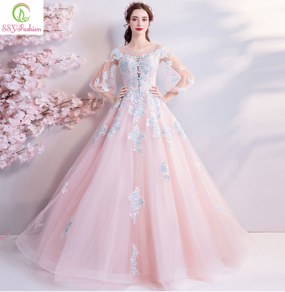 SSYFashion New Sweet Pink Evening Dress Robe De Soiree Lace Appliques with Sequined Floor length 3