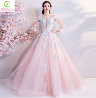 SSYFashion New Sweet Pink Evening Dress Robe De Soiree Lace Appliques with Sequined Floor length 3/4 Sleeved Party Formal Gown