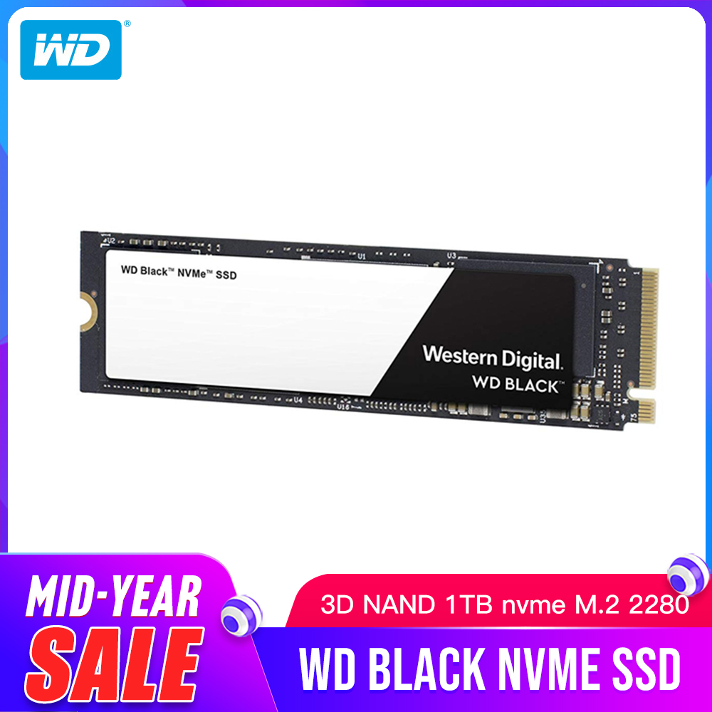 WD SSD Black NVMe 3D NAND 1TB M.2 2280 WDS100T2X0C Solid State Drive Disk 3400MB/S PCIe Gen3 8Gb/s for PC Laptop notebook