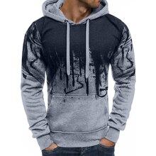 купить!  Толстовка мужская осень зима 2019 молния градиент цвета толстовка с капюшоном мужская пуловер теплый �