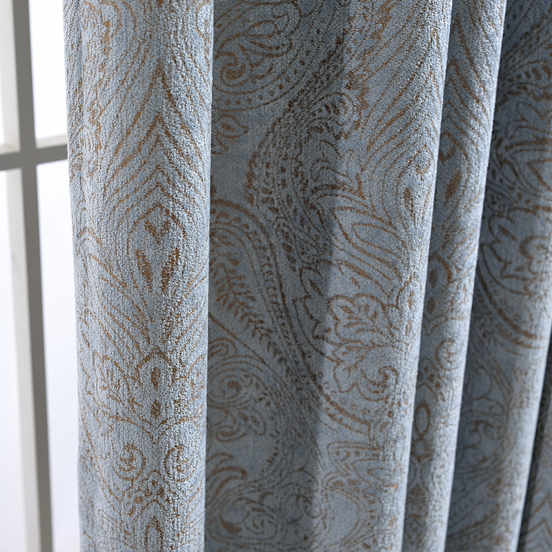 Custom Curtains Luxury Nordic Simple Modern Chenille Jacquard Floral Thick Grey Blue Cloth Blackout Curtain Tulle Drapes N411