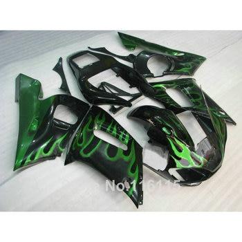 100% new fairing kit for YAMAHA R6 1998-2002 green flames in black YZF R6 plastic fairings set 98 99 00 01 02 #3243