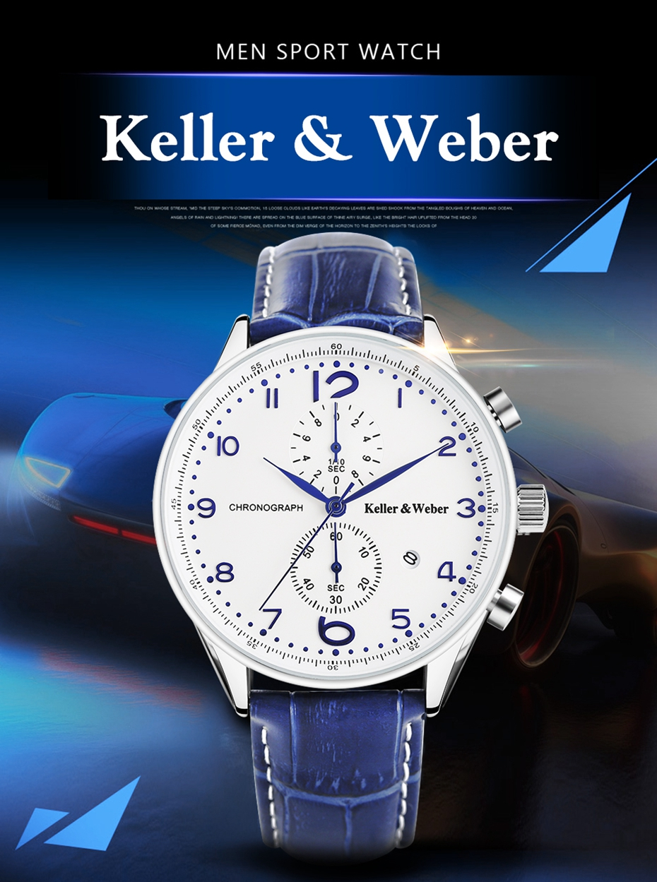 Keller & Weber 2017 Chronograph Mens Watch New Top Luxury Military Sport 30ATM Quartz-watch Genuine Leather Date Clock Male Hour Gifts for Men (1)