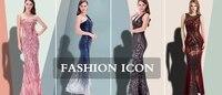 ангел-моды vestido де noiva спагетти ремень блесток суд русалка длинное вечернее платье черный 224