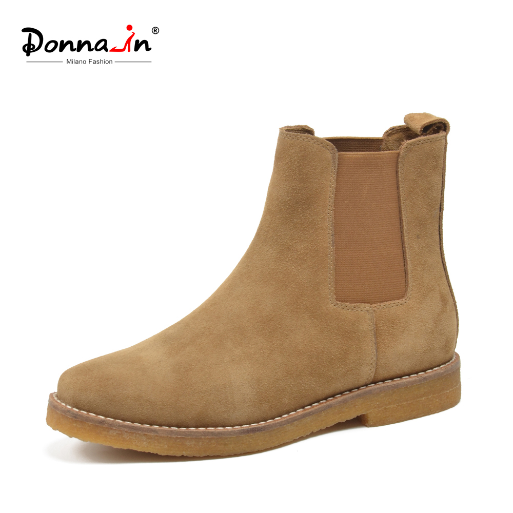 Donna-in Chelsea Women Boots Autumn Genuine Leather Ankle Booties Cow Suede Low Heels Square Toe Classic Female Designer Shoes