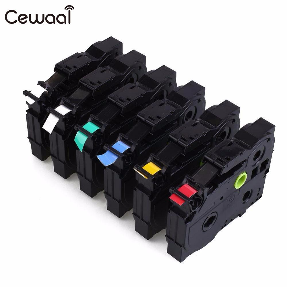 Color printing label maker - Cewaal 6 Color 9mm Label Printer Tape Maker Waterproof Cartridge Compatible For Brother Tape Tze
