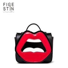 Figestin frauen crossbody taschen pu schwarz weiß mini top-griff totes handtaschen umhängetasche cartoon rote lippen nette extravagantes design