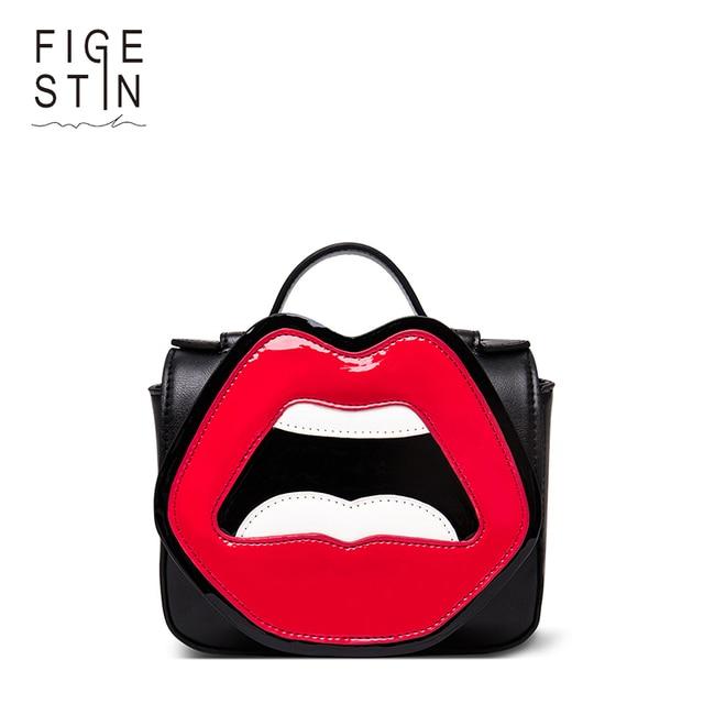 FIGESTIN Womens Crossbody Bags PU Black White Mini Top Handle - Cartoon handbags