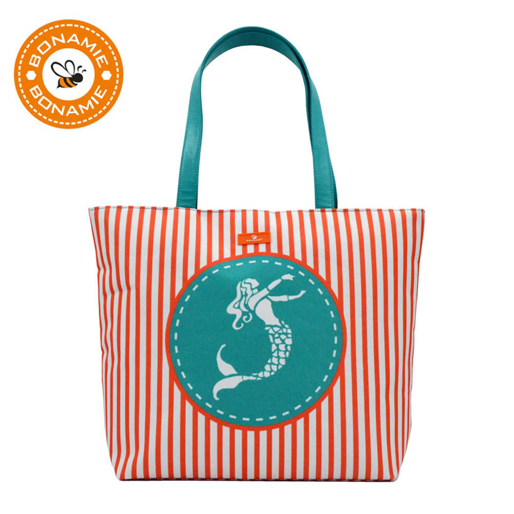6f228966d9e6 Detail Feedback Questions about BONAMIE New Brand Women Tote Big Handbag  Polyester Striped Girl Shoulder Bag Casual Waterproof Lining Mermaid  Pattern Beach ...