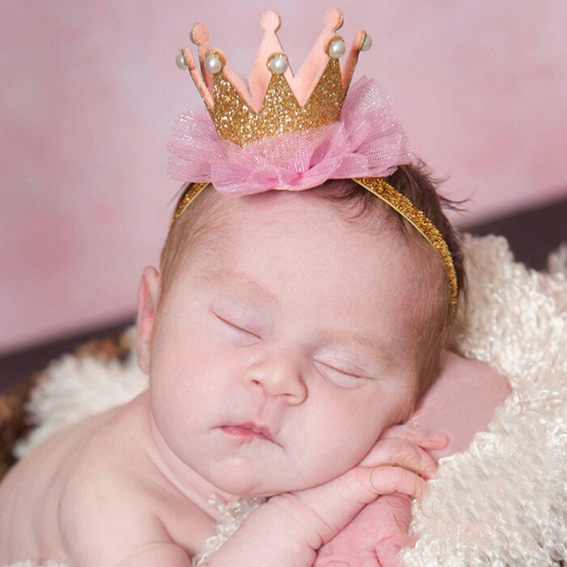 Newborn Crown Headband Gold Princess Crown Baby Girls Cute Hair Band Children Photo Props Infant Kids Hair Accessories 1 Pc цена