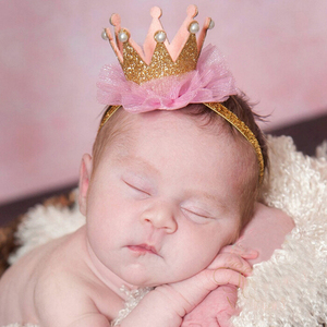 Newborn Crown Headband Gold Princess Crown Baby Girls Cute Hair Band Children Photo Props Infant Kids Hair Accessories 1 Pc(China)