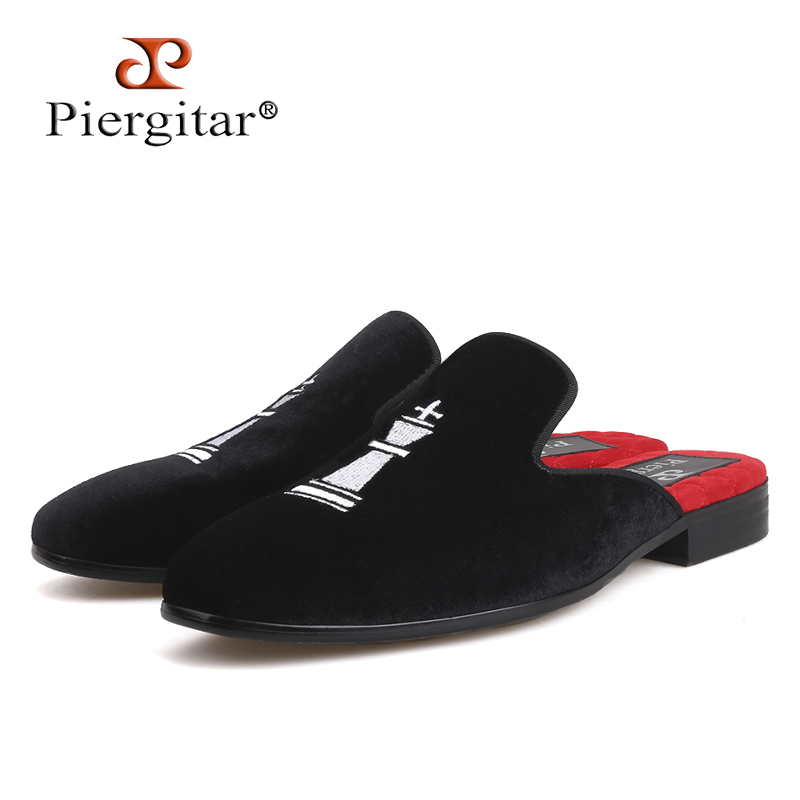 Piergitar new style Handmade men's velvet slippers Fashion party and show men shoes embroidery smoking slippers plus size стоимость