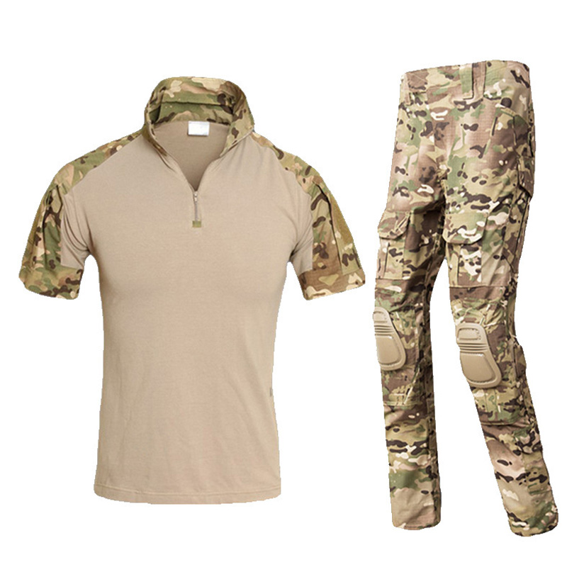 Uniforme militaire Camouflage Costume Hommes Courts Armée Combat Shirt + Pantalon Cargo Paintball Tactique Vêtements Ensemble