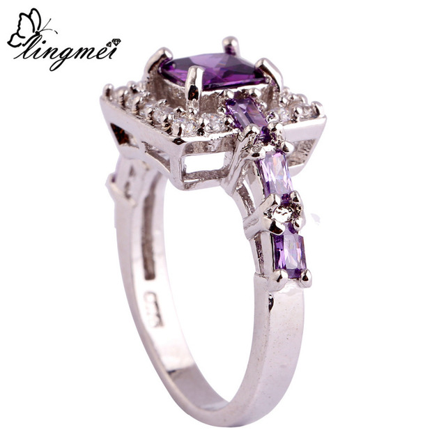 lingmei Wholesale Fashion Women Noble Princess Cut Purple White CZ Silver Color Ring Size 6 7 8 9 10 Jewelry Free Shipping