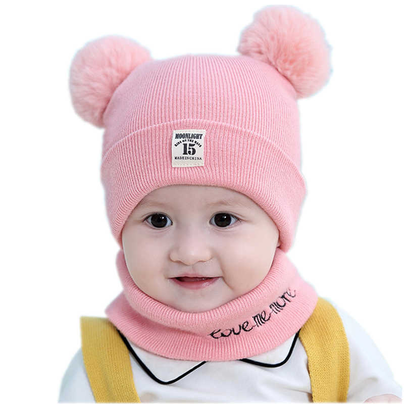 c64da32863b37 ... Baby kids girl beanie hat cap set with scarf for winter Warm Crochet Knit  toddler boy ...