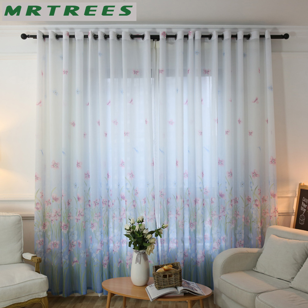Blue curtains for living room - Floral Sheer Curtains Window Curtains For Living Room Bedroom Curtains For The Kitchen Pastoral Tulle Curtains