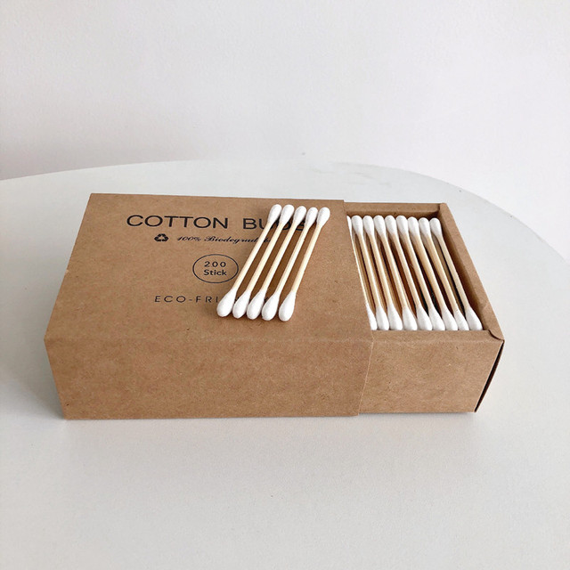 100/200pc Double Head Cotton Swab Bamboo Cotton Swab Wood Sticks Disposable Buds Cotton For Beauty Makeup Nose Ears Cleaning