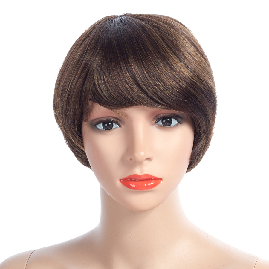 NAYOO 150% Density Bob Non Lace Human Hair Wigs With Bang Brazilian Remy Straight Short Non Lace Wigs With Baby Hair