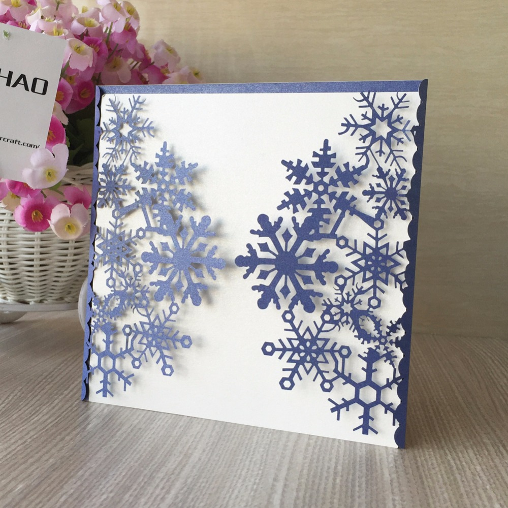 100pcs Christmas Snowflake Pattern Paper Wedding invitations various ...
