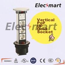 Cubierta de Aleación De aluminio Tipo de Tracción Outlet Surge la UE Plug Socket Mesa con teléfono y ordenador puerto e Indicador LED Socket