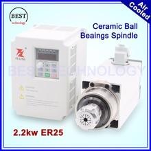 Nueva Llegada! alta precisión 0.01mm 2.2kw 220 v refrigerado por aire husillo ER25 refrigeración por aire de Cerámica bola de barings y 2.2kw Inversor/VFD