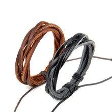 ZMZY Black and Brown Leather Mens Bracelets Multilayer Rope Hand Brace