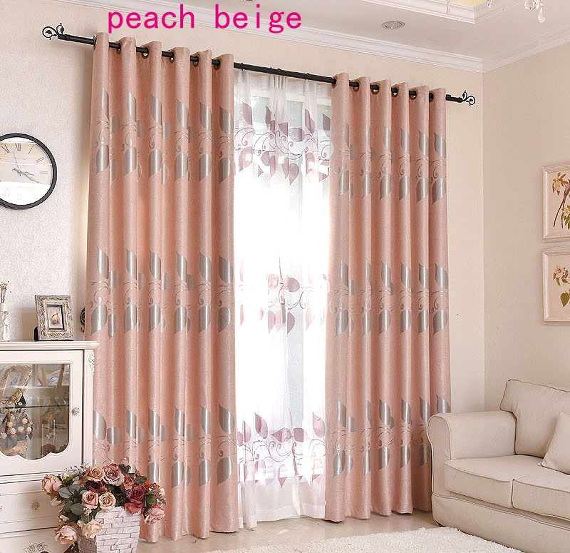 Hot Selling Customized Unique Jacquard Leaves Summer Shade Curtain 90% Blackout Curtain Living Room Window 4 Colors Drape Blind