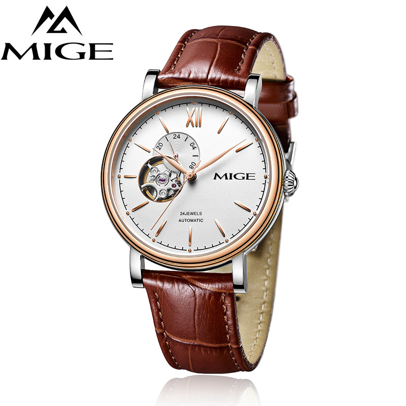 MIGE Luxury Watches Men Mechanical Wristwatches Tourbillion Synthetic Sapphire Crystal Cowhide Leather Strap Relogio Masculino 2016forsining luxury relogio masculino men s day week tourbillion auto mechanical watches wristwatches gift box free ship