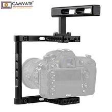 Camvate liga de alumínio câmera genérico equipamento gaiola com alça superior para dslr câmera suporte estável sistema fotografia acessórios novo