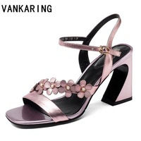 VANKARING best sellers 2019 new fashion summer women sandals high heels shoes multicolor grace shoes women party shoes size34 39