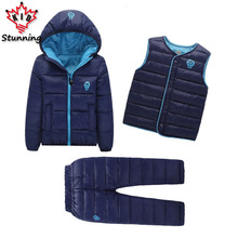 2-7 Years Baby Boys Girls Coats Brand 2017 Winter Boys Down Jackets Casual Snow Wear Girls Clothing Sets 3Pcs Outerwear & Coats