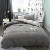 2018 Embroidery Elk Bedding Set Kids Cute Bedspread Duvet Cover Set Cotton Fabric Soft Bed Set With Flat Sheet 4Pcs