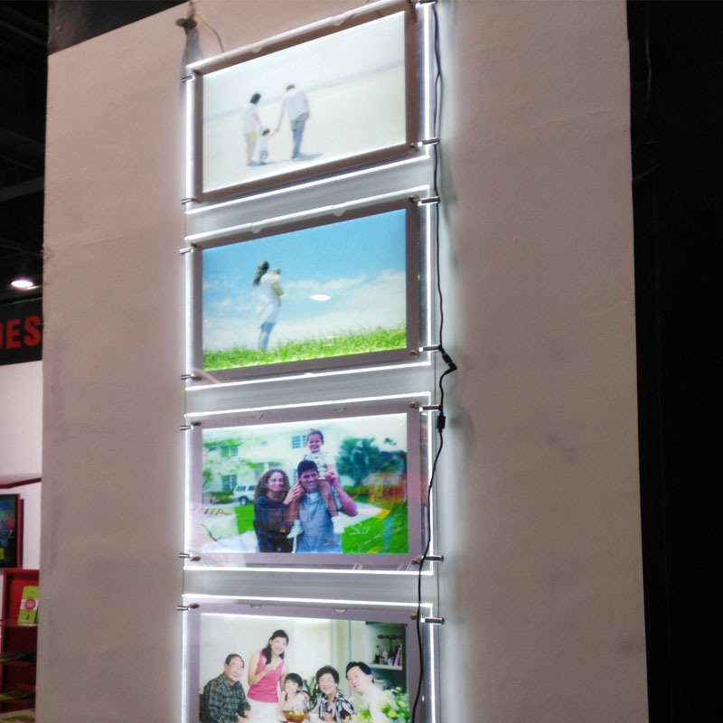 (5unit/Column) A3 Single Sided Magnetic Face LED Magnetic Light Box,Picture Cable Hanging Display Systems 1unit column a4 double sided gallery hanging systems wire hanging picture hanging systems for agent hotel retail store