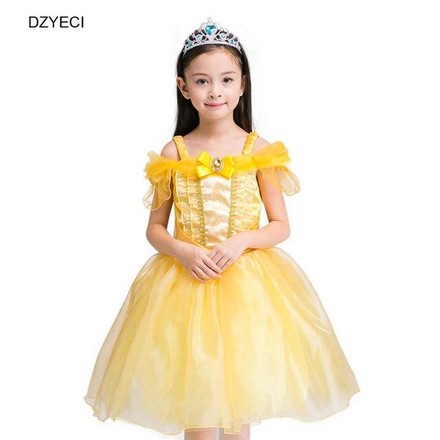 dzieci bella durmiente vestido para nia belle disfraces de halloween nio hombro encaje partido princesa deguisement