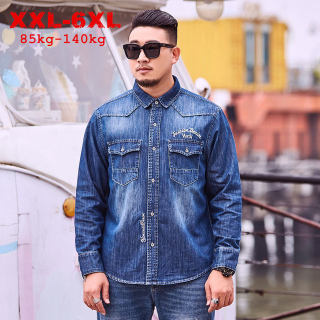 Spring Autumn Denim Shirt Plus Large Size 4XL 5XL 6XL Mens Long Sleeve Shirts Loose Fit 100% Cotton Embroidered Cowboy Shirts