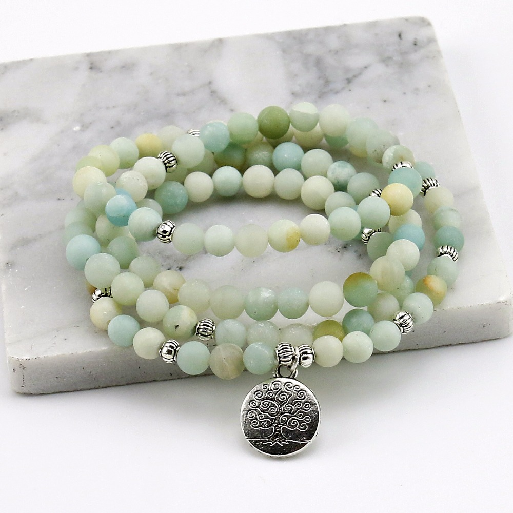 6mm Matt Amazonite Gebetskette Armband Baum Lebens armband 108 Amazonite Mala Perlen Armband Für Frauen, energie Armband