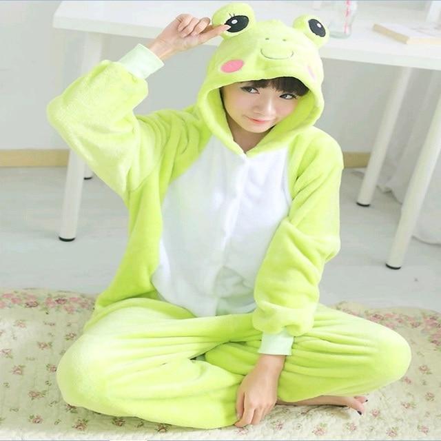 Kigurumi Cartoon animal conjoined Halloween Frog Onesie Sleepwear Warm  Anime Costume Sleepsuit Cosplay Pajamas Adult Children 09fd50990