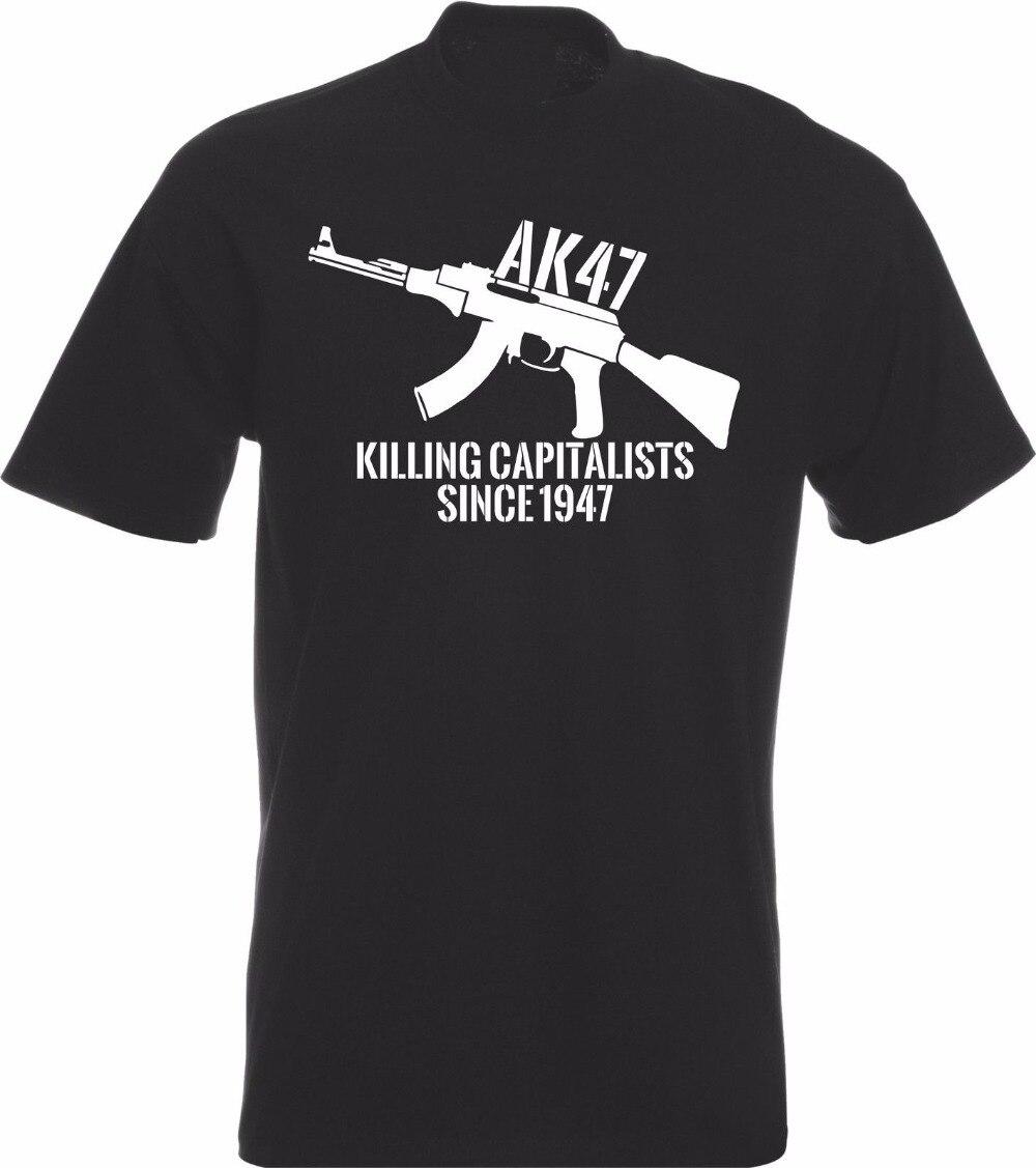 New AK47 Killing Capitalists since 1947 Logo Men/'s Black T-Shirt Size S to 3XL
