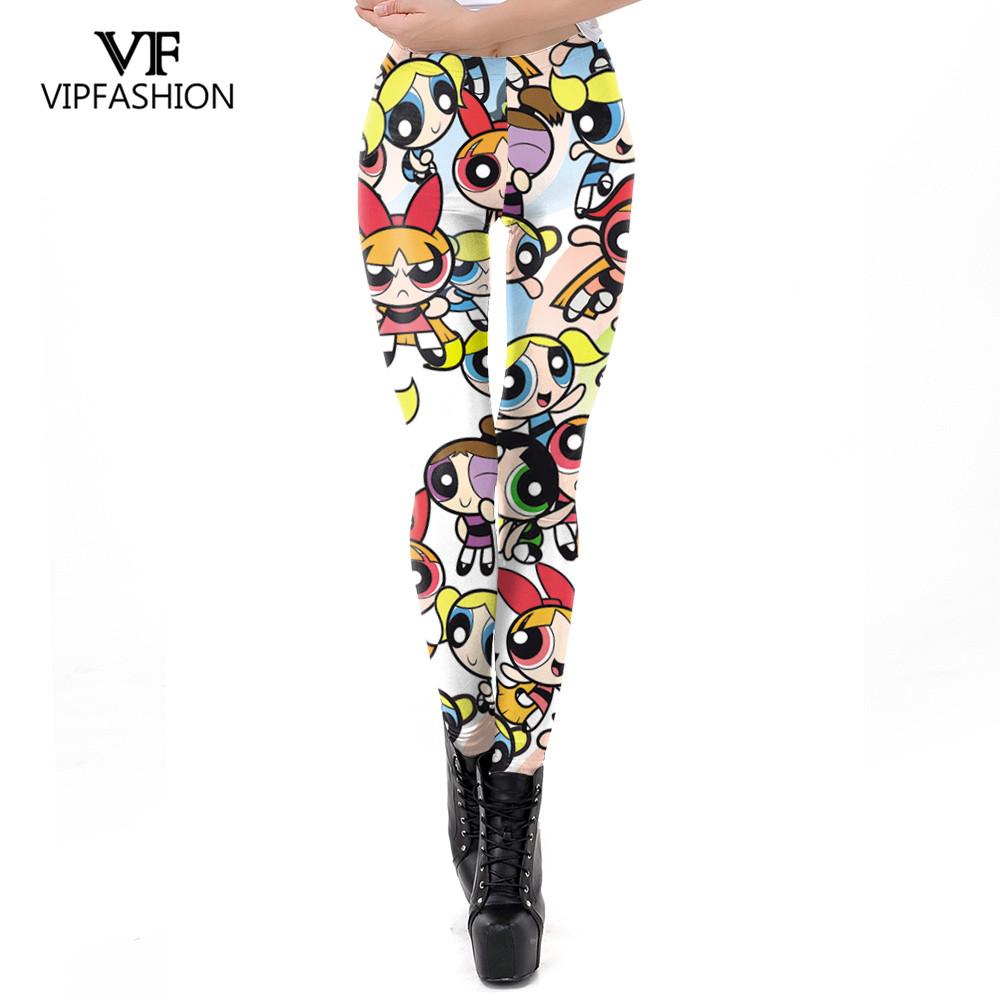 VIP FASHION 2019 New Body Building Pants Women Powerpuff Girls Cartoon Printed Elasticity Leggin Puls Size Workout Leggin