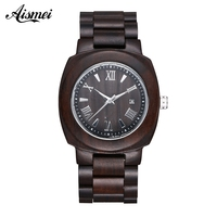 2018 Wooden Watch Relojes Men Watches Casual Vintage Retro Calendar Wood Wristwatch Men Black Wood Watch