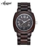2018 Wooden Watch Relojes Men Watches Casual Vintage Retro calendar Wood Wristwatch Men Black Wood Watch Relogio Masculino