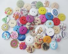 WBNOLN 150pcs 20MM Round wood buttons mixed for craft decoration printed/painting/engraved sewing button