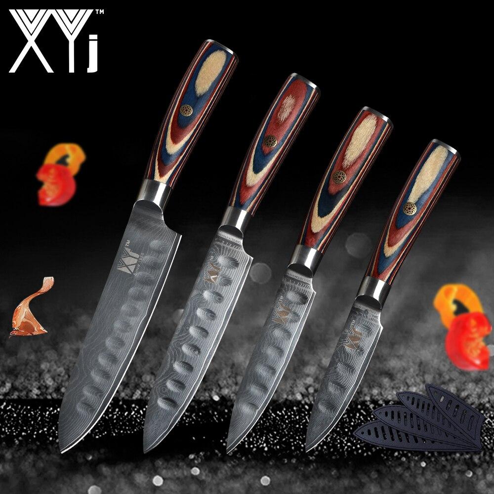 Damas Cuisine Couteaux XYj Couteau de Chef Japonais Cuisine Couteau Damas VG10 67 Couche Couteaux De Cuisine Ultra-Net Manche En Bois