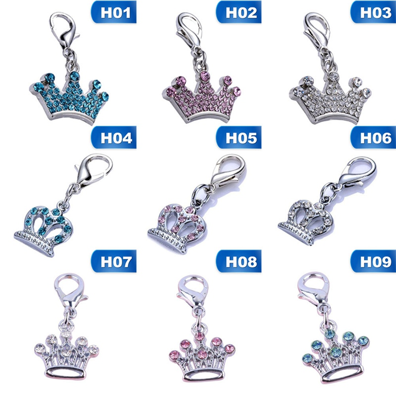 Dog Tag Crystal Crown Shaped Charm Pendant For Pet Collar Accessories Rhinestone Dog Pet ID Tags Pet Supplies