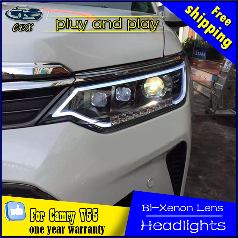 Car Styling Head Lamp for Toyota Camry Headlights 2015 Camry LED Headlight DRL Daytime Running Light Bi-Xenon HID Accessories car styling headlights for toyota rav4 led headlight 2013 2015 for rav4 head lamp led daytime running light q5 lens bi xenon hid